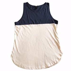 H&M Tank Top Sleeveless Color Block Blue Medium